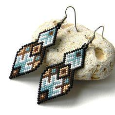 Beaded Earrings, Seed Bead Earrings, Beadwoven, Beadwork, Delica Beads, Peyote