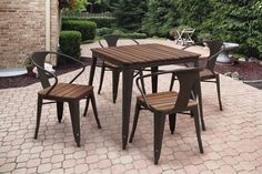 5-piece Outdoor Dining Set Square Steel Contemporary Mid-Century Brown Table NEW #OutdoorDiningSet