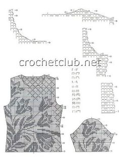 Everything you could need for making a fitted filet crochet blouse - shoulder, armhole and sleeve cap shaping.