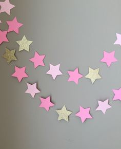Twinkle Twinkle Little Star Garland, Baby Shower Decorations, First Birthday, Pink and Gold Decorations, Birthday, Star Garland, Gold Star by ConfettiBistro on Etsy https://www.etsy.com/listing/237688670/twinkle-twinkle-little-star-garland-baby