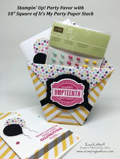 Larger Sized Diaper Fold Paper Favor with Matching Note Card PLUS the How To Video!, Oh My Goodies, Remembering Your Birthday, #stampingtoshare