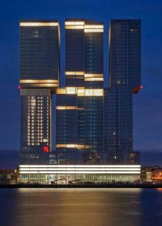 The Netherlands Glass Building, Tower Building, Rotterdam Architecture, Amazing Architecture, Leiden, Places Around The World, Around The Worlds, Harbor Town, Facade Lighting