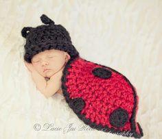 Crochet Ladybug Shell Cover - Newborn Photo Prop - Crochet Ladybug - Newborn Body Cape - Crochet Baby Snug Rug - Crochet Hat. $32.99, via Etsy.