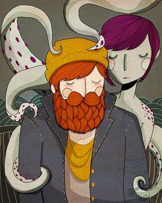 Die Sirene Illustration von NanLawson auf Etsy