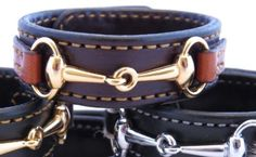LEATHER HORSE BIT BRACELET Bordeaux & Chestnut with Gold Snaffle Amish Handmade Equestrian Country Jewelry Made in USA