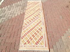 Neutral Color Runner rug Kilim runner 114 x 30.5 by PocoVintage