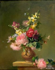 Francois Rivoire Bouquet Of Roses 1861 Flower Painting Flower Victorian Flower Basket By Artist Jeanne Illenye On Dailypainters Floriography The Language Of Flowers In The Victorian Era Carta Victorian Paintings…Read more of Victorian Flower Paintings Victorian Flowers, Victorian Art, Vintage Flowers, Painting Still Life, Still Life Art, Art Floral, Flower Vases, Flower Art, Decoupage