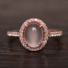 Natural Pink Quartz Ring Women Wedding Rose Gold by KnightJewelry, $65.00