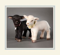 R John Wright Collectible Dolls - Springtime Lambs Flossy & Blackie (w/ voices) #RJohnWright