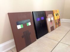 Minecraft Inspired Wall Art for Kids. Hand painted, $42.00 a piece. Any and all characters and skins!