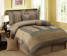 """King Size Tan & Gray Tones Square Design 7 Piece Comforter Set by Regal Comfort. $75.95. King Size. Features Tan and Gray Tones in Modern Squares Pattern. Comforter measures 100 inches x 86 inches. 7 Piece Comforter Set. Comes with 1 Comforter; 2 Pillow Shams; 1 Bed Skirt; 2 cushions; and 1 Neckroll. This is a 7 Piece set that includes one 100"""" x 86"""" Comforter; two 20"""" x 36"""" x 2"""" Pillow Shams; one 78"""" x 80"""" Bed-skirt with 14"""" overhang; one 17"""" x17"""" cushion; one 12"""" x 1..."""