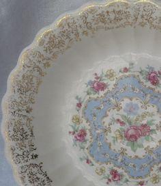 Charming Vintage Limoges (USA) Lyric Soup Bowls with Gilt Filigree Trim and Blue  Pink Floral Center Medallion. At AngelGrace on etsy.