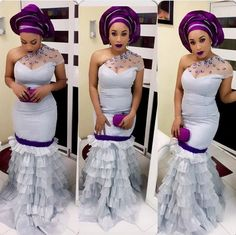 I love her style from head to toe, from the purple and lilac Asó okè and purple clutch and the one shoulder dress #Nigerian #Attire #AsóOke #makeup #purple #Fashionista #clutch #gélè #stylish #oneshoulderdress