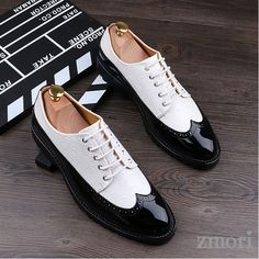 Black White Glossy Patent Leather Lace Up Oxfords Flats Dress Shoes, Material:Faux Leather Heels Measurement: 3 cm Casual Leather Shoes, Leather Loafers, Leather And Lace, Loafers Men, Patent Leather, Men's Oxfords, Best Shoes For Men, Shoes Men, Rider Boots