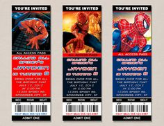 Spiderman Ticket Birthday Invitations by PerfectFavors on Etsy, $5.00