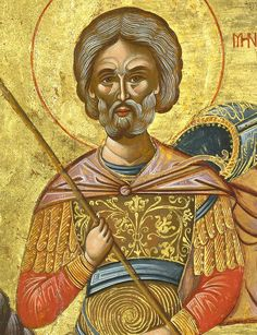 Detailed view: Saint Menas- exhibited at the Temple Gallery, specialists in Russian icons Symbolic Art, Russian Icons, Orthodox Icons, Saints, Angels, Princess Zelda, Symbols, Christian, Statue