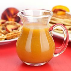 A homemade syrup made with fresh peaches for pancakes, French toast and waffles.