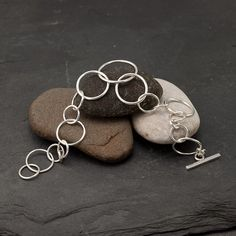 Circle Link Bracelet - Handmade Sterling Silver Jewelry-Etsy-Artulia-$88