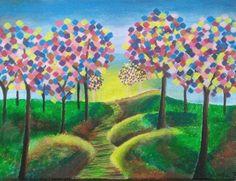 """Rainbow Forest"" - Acrylic Painting by: Wajeeha Zaheer"