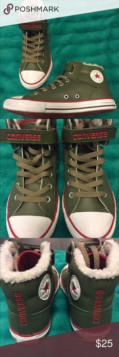 Converse shoes Army green and red. Only wore once. Says size 4, think that's in kids because I'm a size 7 in woman's and they fit good Shoes Sneakers