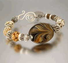 Cafe con Leche Artisan Beaded Bracelets with Lampwork Smooth rich dark coffee and cream colors all swirled together to make the perfect combination. Yumm. Warm soothing