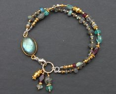 Labradorite Apatite Garnet Gold plated Brass Silver Pewter Mixed Metal Sundance Style Double Strand Bracelet