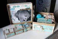 Cadeau naissance Paul Mini Albums Scrapbook, Baby Scrapbook, Baby Kit, Exploding Boxes, 3d Cards, Mini Books, Baby Cards, Gifts For Boys, New Baby Products