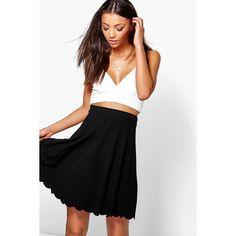 Boohoo Night Tall Leya Scallop Hem Textured Mini Skirt ($14) ❤ liked on Polyvore featuring skirts, mini skirts, black, scalloped mini skirt, holiday skirts, embellished mini skirt, tall skirts and scallop hem skirt