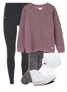 """""""Untitled #318"""" by archerychick5 on Polyvore featuring NIKE, RVCA, Aéropostale, Converse and Vineyard Vines #Casualoutfits #fallfashionoutfitsskirts Legging Outfits, Nike Leggings, Komplette Outfits, Lazy Outfits, Outfits With Converse, Teen Fashion Outfits, Teenager Outfits, Outfits For Teens, Trendy Outfits"""