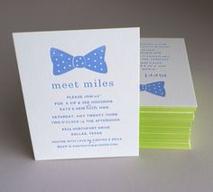 Blue bow baby announcement letterpress printed with fresh green edge painting