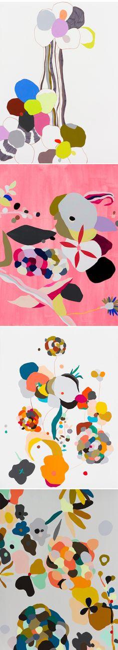 """Love me two times"" by Australian artist Kirra Jamison - gouache, ink, pen & vinyl on paper"