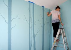 wall art: painting birch trees