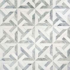 Talya Multi Finish Marmara Av D Marble Waterjet Mosaics 9 11/16x9 11/16 - From Country Floors of America