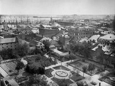 Bird's-eye view of the seminary gardens, Montreal, Quebec by Musée McCord Museum, via Flickr
