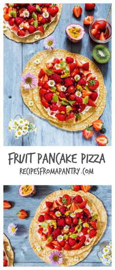 Easy fruit pancake pizza recipe perfect for cooking with kids. Made with pancakes, cream cheese, strawberries, kiwis and raspberries. recipesfromapantry.com