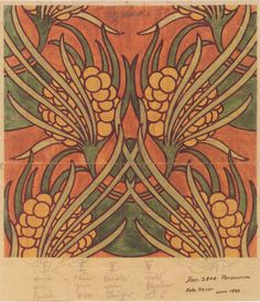 Koloman Moser. Fabric design for Backhausen, watercolor on paper, 22 x 31 cm…
