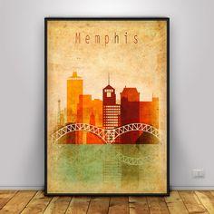Memphis art, Memphis Poster, Vintage wall art, Memphis skyline, Typography city…