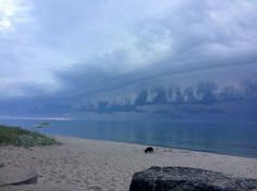 Grand Bend/July 23, 2017 Shelf Cloud Huron County, Sunsets, Shelf, Clouds, Mountains, Nature, Travel, Voyage, Shelves
