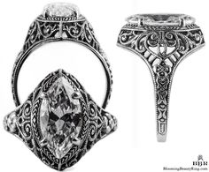 For a to marquise stone. Featuring a feminine design with a hearts, flowers, and running scrolls around the band. Antique Rings cast from the exact die or mold of the vintage time period. Wedding Rings Vintage, Antique Engagement Rings, Designer Engagement Rings, Diamond Engagement Rings, Solitaire Diamond, Diamond Rings, Thing 1, Pear Shaped Diamond, Filigree Ring