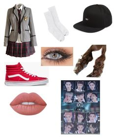 """KPOP: EXO growl outfit"" by montrosecheer on Polyvore featuring Hanes, Vans, OBEY Clothing, Clair Beauty and Lime Crime"
