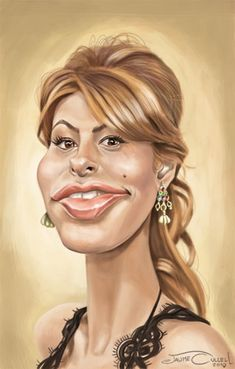 Digital caricature of the goreous actress Eva Mendes, done with Photoshop More. Funny Caricatures, Celebrity Caricatures, Celebrity Drawings, Cartoon Faces, Funny Faces, Cartoon Art, Caricature Artist, Caricature Drawing, Sketch Manga