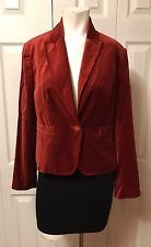 New Worthington Women's Burnt Orange Velvet Blazer Jacket Size 8