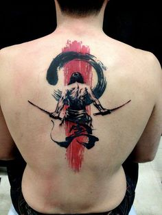 Great tattoo of samurai on the man's back. Tags: Creative, Great ideas for men Trash Polka Samurai Tattoo Idea Great Tattoos, Beautiful Tattoos, Body Art Tattoos, Sleeve Tattoos, Tatoos, Tribal Tattoos, Incredible Tattoos, Spine Tattoos, Creative Tattoos