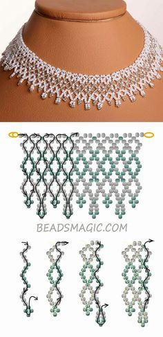 Free pattern for wedding necklace Dia - Halskette Beaded Necklace Patterns, Seed Bead Patterns, Beaded Choker, Beading Patterns, Beaded Earrings, Beaded Bracelets, Embroidery Patterns, Knitting Patterns, Beaded Jewelry