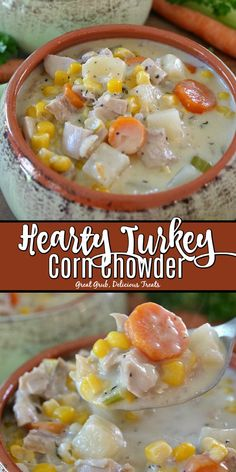 Turkey Corn Chowder is a delicious and easy turkey recipe loaded with leftover turkey, vegetables and seasoned perfectly.Hearty Turkey Corn Chowder is a delicious and easy turkey recipe loaded with leftover turkey, vegetables and seasoned perfectly. Leftover Turkey Soup, Leftovers Recipes, Turkey Leftovers, Turkey Stew, Cream Of Turkey Soup, Slow Cooker Turkey Soup, Homemade Turkey Soup, Cooked Turkey Recipes, Pico De Gallo