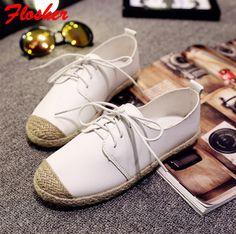 2016 nieuwe Koreaanse instituut wind kant hennep stro platte witte schoenen wilde comfortabele schoenen Seizoenen FG0342