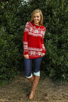 Shop this look on Lookastic:  http://lookastic.com/women/looks/knee-high-boots-leg-warmers-skinny-jeans-crew-neck-sweater-necklace/6918  — Brown Leather Knee High Boots  — Light Blue Leg Warmers  — Navy Skinny Jeans  — Red and White Fair Isle Crew-neck Sweater  — Silver Necklace