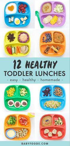 These 12 Healthy Toddler Lunches are fruit and veggie packed, balanced meals that will be devoured by your toddler with no fuss! Great for kids of all ages and even picky eaters, you'll love these quick, tasty, homemade toddler lunch ideas. Healthy Toddler Lunches, Healthy Toddler Meals, Easy Meals For Kids, Toddler Snacks, Healthy Kids, Lunch Ideas For Toddlers, Foods For Picky Toddlers, Healthy Meals Picky Eaters, Kids Fun