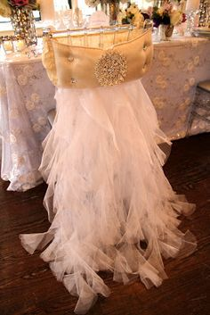 classic elegance—feathery tulle, gold lamé, and a bit of bling