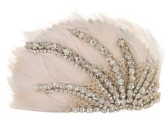 KARIN ANDREASSON - FEATHER AND CRYSTAL HEAD PIECE.  maybe forego almost all jewelry and a veil and go for a head piece?
